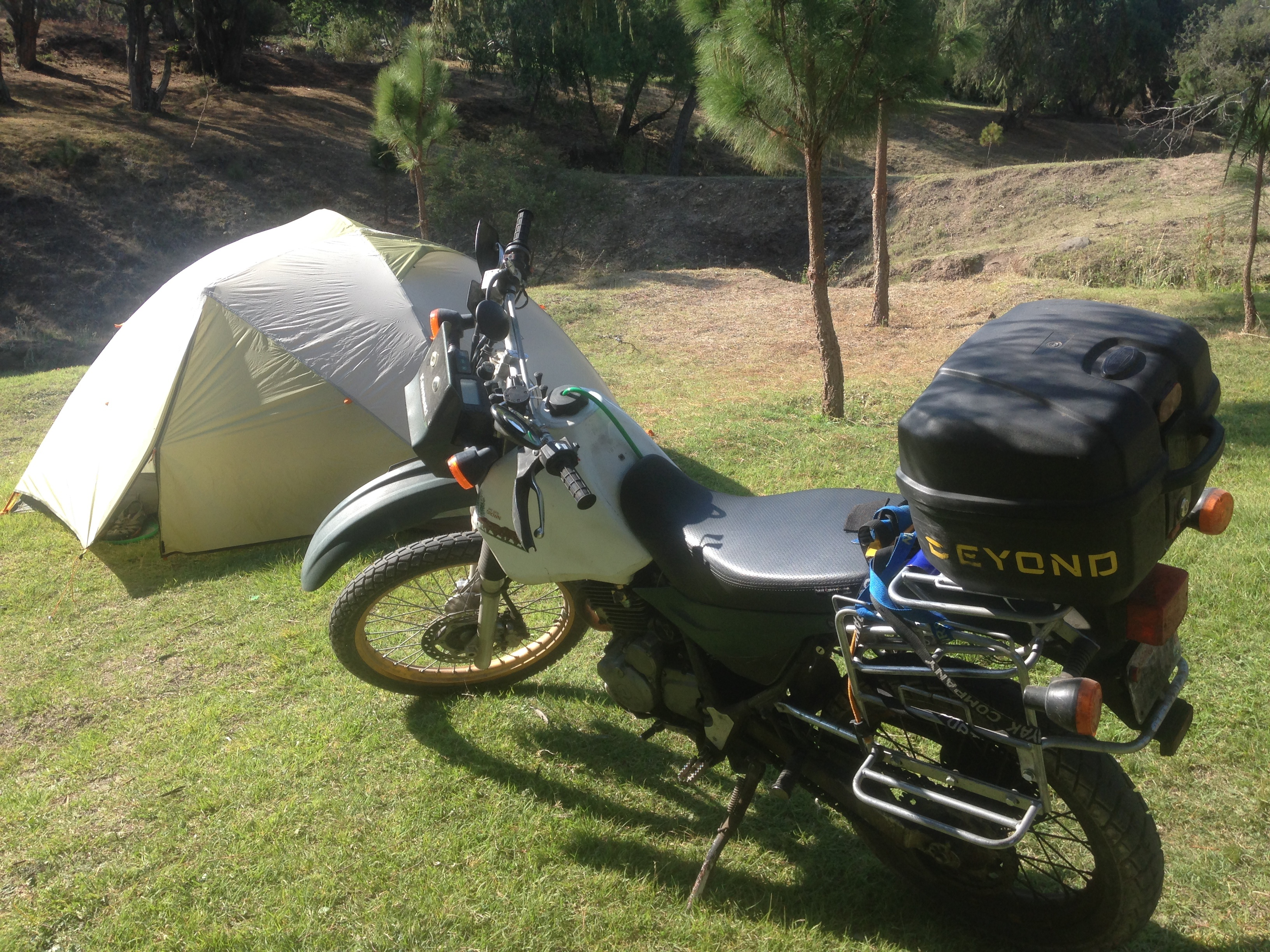 A perfect combo, adventure bike and tent!