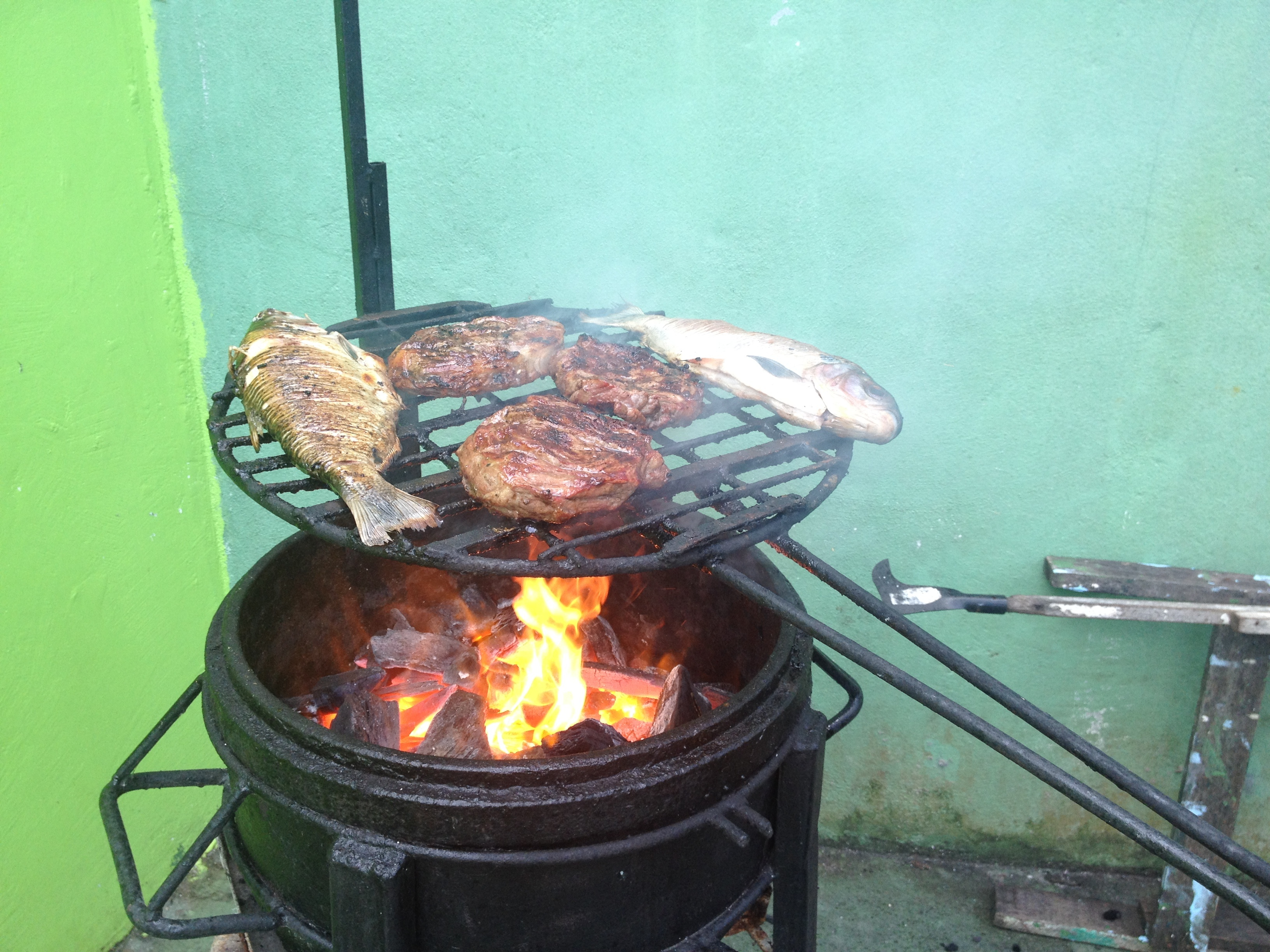 BBQing for one of our last times watching the games in Brazil